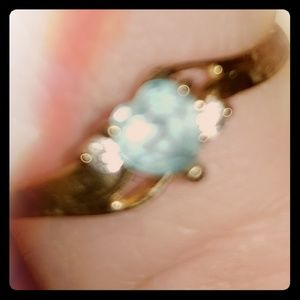 10kt yellow gold ring w/ March birthstone heart